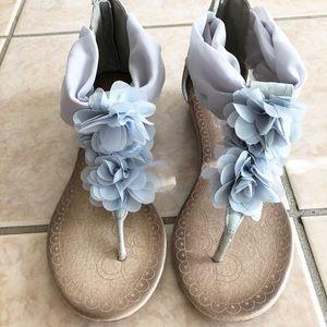 Shoes - Light Blue Turquoise Laces Floral Sandals